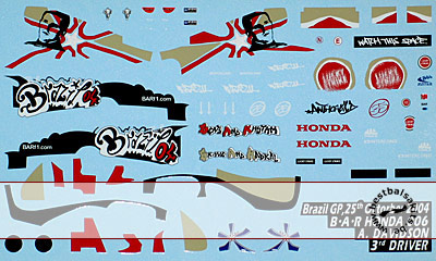 ARTEFICE 1/43 DECAL BAR HONDA 006 DAVIDSON GP BRASIL 04