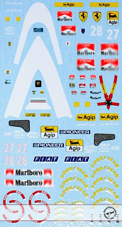 ARTEFICE 1/43 1/43 FULL SPONSOR FERRARI F93A DECAL for PMA
