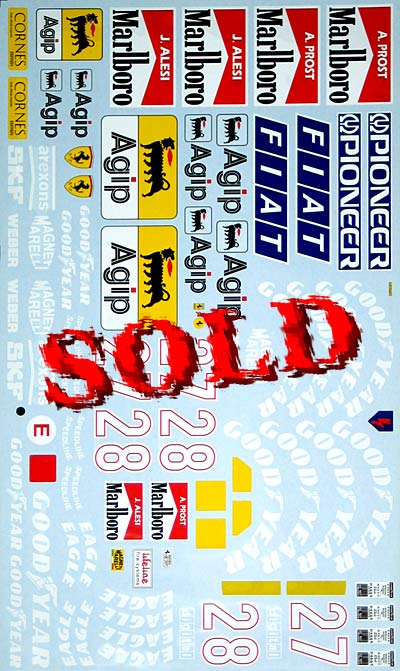 ARTEFICE 1/8 1/8 FULL SPONSOR DECAL FERRARI 643 for ROSSO
