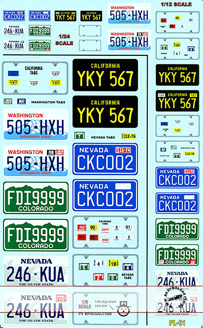 F1 SPECIALTIES 1/8 1/12 1/24 1/8 1/12 1/24 LICENSE PLATE DECAL