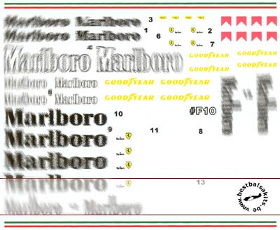 F1 SPECIALTIES 1/20 1/20 decal for Tamiya 20045 Ferrari F310B