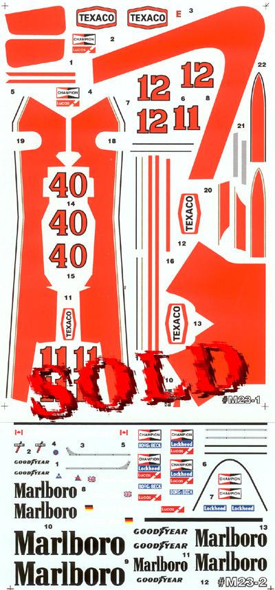 F1 SPECIALTIES 1/20 Gilles Villeneuve decal Tamiya 20002 McLaren M23