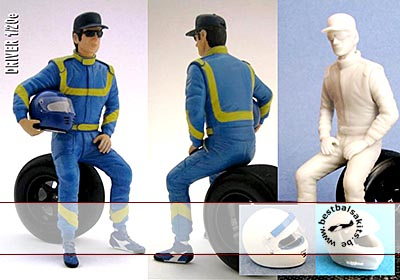 GF MODELS 1/20 90'S DRIVER FIGURE WEARING CAP SEATED ON TIRE