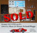 HIRO 1/24 Ferrari 250 GTO 1964 Le Mans Nr 25 Ireland-Maggs