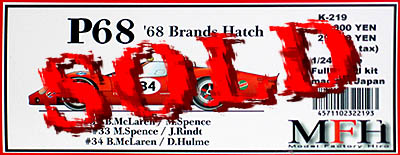 HIRO 1/24  FORD P68 #34 BRANDS HATCH 68 McLAREN SPENCE HULME