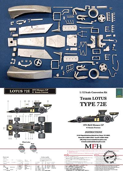 HIRO 1/12 LOTUS 72E TRANSKIT 1/12 TAMIYA LOTUS 72 PETERSON