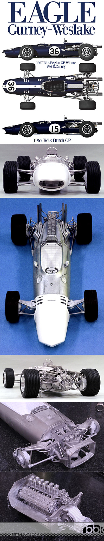 HIRO 1/12 EAGLE GURNEY-WESLAKE '67 BELGIAN & DUTCH GP