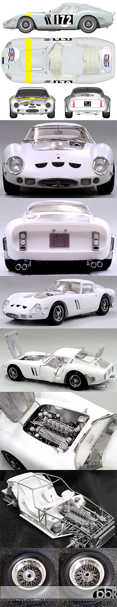 HIRO 1/12 FERRARI GTO250 1964 TOUR DE FRANCE #172 BI