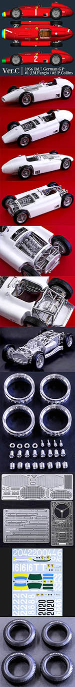 HIRO 1/12 FERRARI D50 '56 GERMAN GP LONG NOSE Fangio Collins