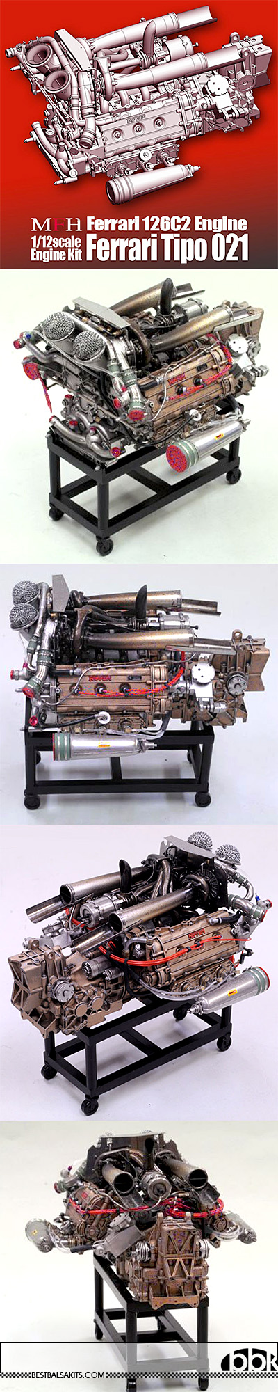 HIRO 1/12 FERRARI 126C2 F1 ENGINE MODEL STAND ALONE