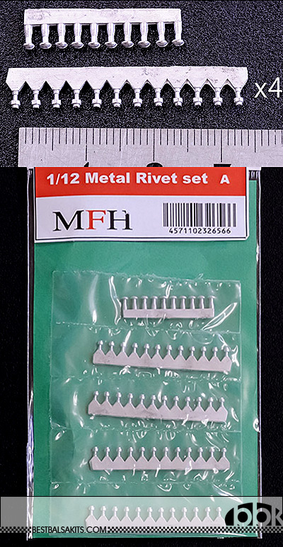 HIRO NA 1/12 METAL RIVET 1.5mm & SIM HEX NUT 'N STUD 1.3mm