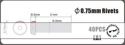 HOBBY-D  0.75mm alu rivet, type A, 40pcs