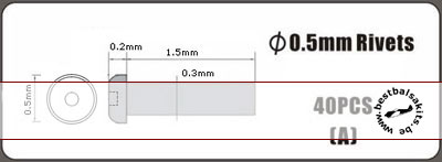 HOBBY-D  0.5mm alu rivet, type A, 40pcs