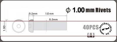 HOBBY-D 1/12-1/20 1.00mm alu rivet, type A, 40pcs