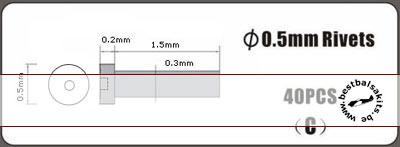 HOBBY-D  0.5mm alu rivet, type C, 40pcs