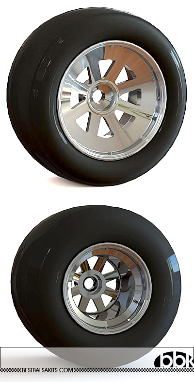 ICON AM 1/12 RESIN 15'' FRONT & 13'' REAR 8 SPOKE WHEEL SET
