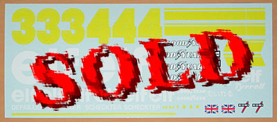 INDECALS 1/12 P34 TYRRELL SIX WHEELER Scheckter Depailler