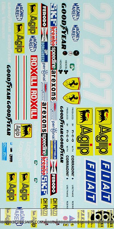 INDECALS 1/12 FERRARI 126 C2 126C2 1982 GILLES VILLENEUVE