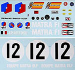 INDECALS 1/12 MATRA MS11 '68 GERMAN GP DECAL TAMIYA 1/12 BELTOIS