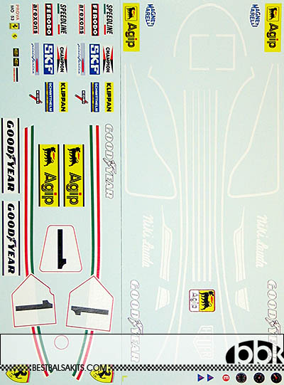 INDECALS 1/12 FERRARI 312T2 LAUDA REPLACEMENT DECAL for PROTAR