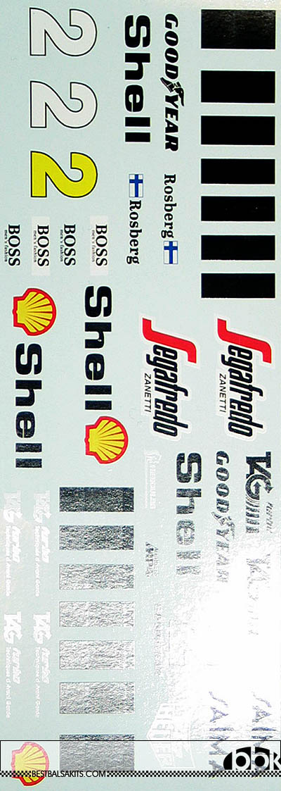 INDECALS 1/12 McLAREN MP4/2C ROSBERG DECAL for PROTAR