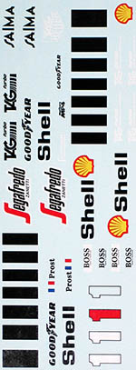 INDECALS 1/12 McLAREN MP4/2C PROST REPLACEMENT DECAL for PROTAR
