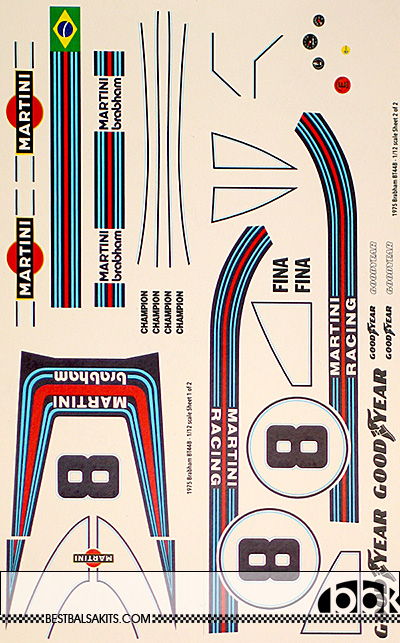 INDECALS 1/12 BRABHAM BT44B PACE REPLACEMENT DECAL for TAMIYA