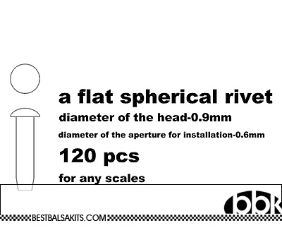 MASTERCLUB 1/12-1/24 RESIN FLAT SPHERICAL RIVET .9mm, 120pcs