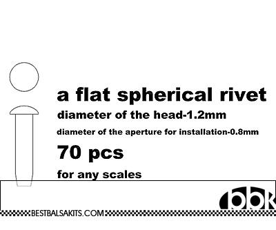 MASTERCLUB 1/12-1/24 RESIN FLAT SPHERICAL RIVET 1.2mm, 70pcs