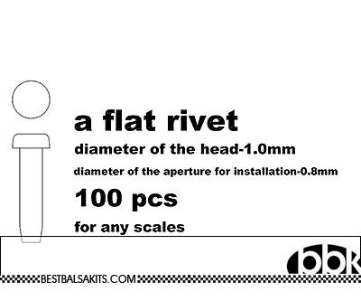 MASTERCLUB 1/12-1/24 RESIN FLAT RIVET 1.0mm, 100pcs