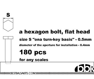 MASTERCLUB 1/12-1/24 RESIN .5mm FLAT HEX BOLT 180pcs