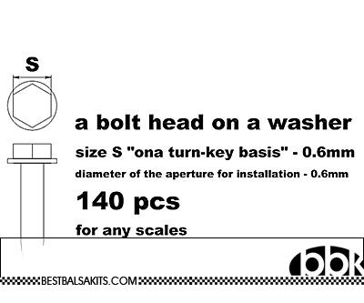 MASTERCLUB 1/12-1/24 RESIN .6mm HEX BOLT ON WASHER, 140pcs