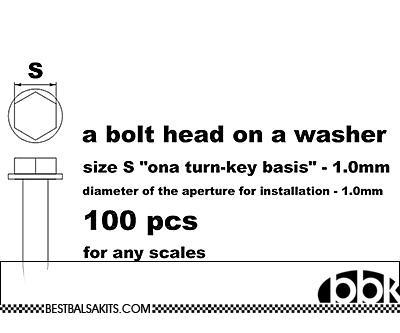 MASTERCLUB 1/12-1/24 RESIN 1.0mm HEX BOLT ON WASHER, 100pcs