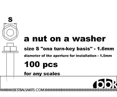 MASTERCLUB 1/12-1/24 RESIN 1.6mm HEX NUT 'N STUD ON WASHER 100pcs