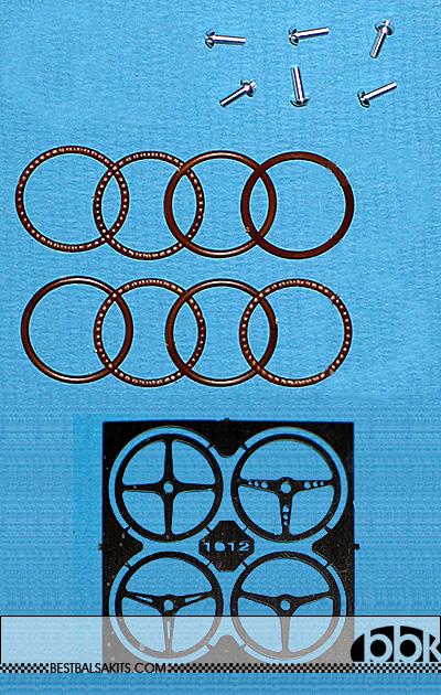 BERLINETTA<br>MG MODEL 1/20-1/24 4 types Wooden steering wheels, 1pcs eachl