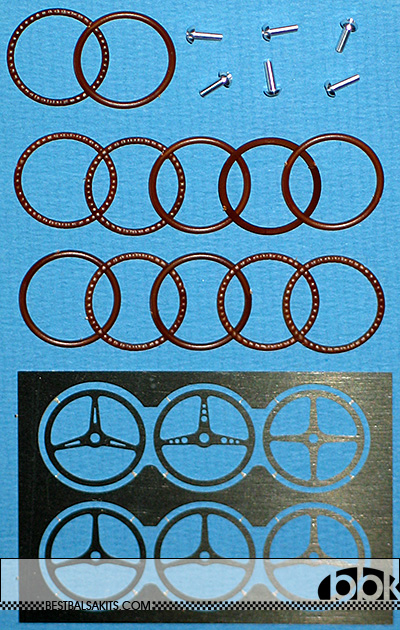 BERLINETTA<br>MG MODEL 1/24 6 STEERING WHEELS  + WOODEN LIKE FINISH, 4 DESIGNS