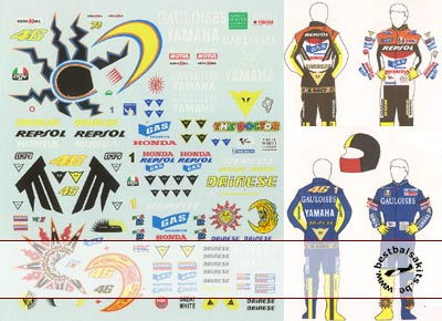 MSM 1/12 VALENTINO ROSSI DECAL for HELMET & SUIT 2002-2005
