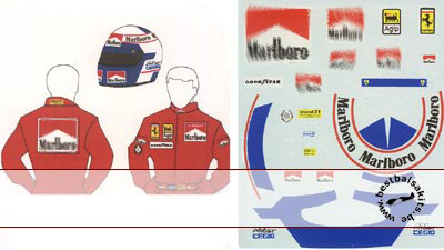 MSM 1/12 ALAIN PROST FERRARI DECAL for HELMET & SUIT