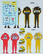 MSM 1/43 DECAL HELMET & SUIT SENNA TEAM LOTUS & McLAREN