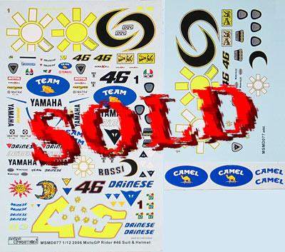 MSM 1/12 VALENTINO ROSSI HELMET & SUIT MOTO GP 2006