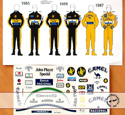 MSM 1/12 AYRTON SENNA LOTUS JPS DECAL for HELMET & SUIT