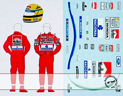 MSM 1/18 AYRTON SENNA McLAREN DECAL for HELMET & SUIT