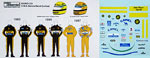MSM 1/18 AYRTON SENNA LOTUS JPS DECAL for HELMET & SUIT