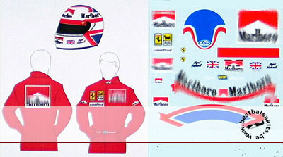 MSM 1/12 NIGEL MANSELL FERRARI 641/2 DECAL HELMET & SUIT