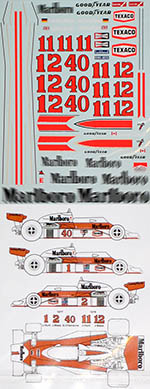 MSM 1/20 McLAREN M23 MASS HUNT FULL SPONSOR DECAL