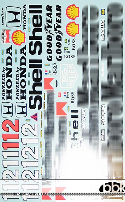 MSM 1/8 FULL SPONSOR DECAL for McLAREN MP4/4 SENNA PROST