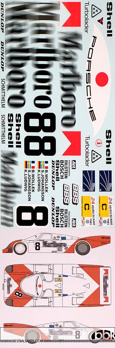 MSM 1/12 MARLBOLO PORSCHE 956 LE MANS 1983 for MFH