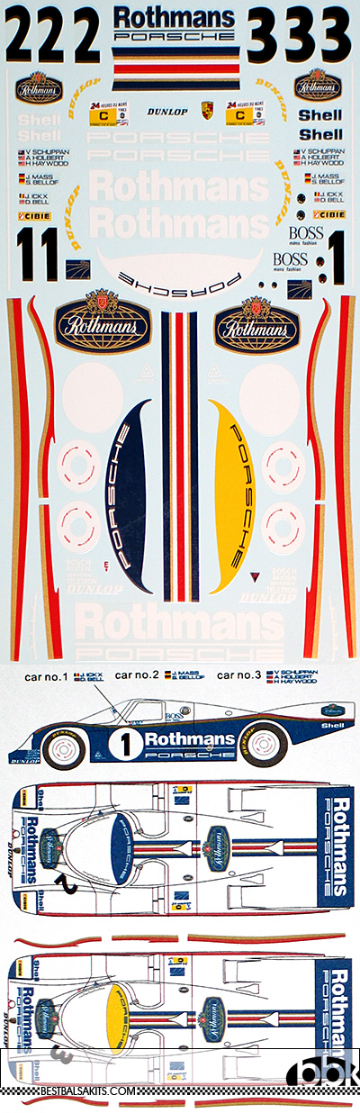 MSM 1/24 PORSCHE 956 ROTHMANS LE MANS 1983 DECAL