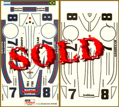 MTR SPEED / ACE 1/12 MARTINI & WATKINS GLEN DECAL TAMIYA BRABHAM BT44