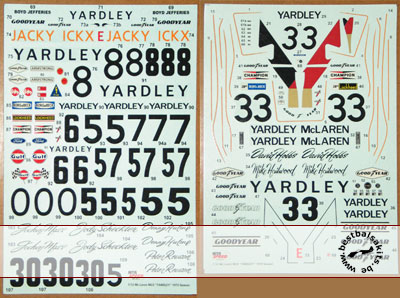MTR SPEED / ACE 1/12 1973-1974 DECAL TAMIYA M23 YARDLEY F-1